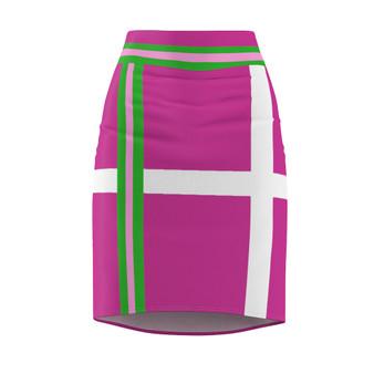 Dark Pink Green Stripe Pencil Skirt