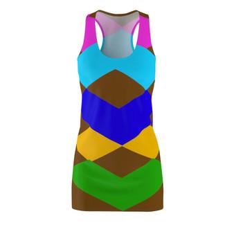 Brown Multi Color T-Shirt Racerback Dress