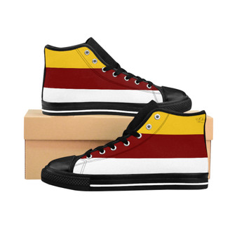 Yellow, White and Burgundy Women High Top Shoes