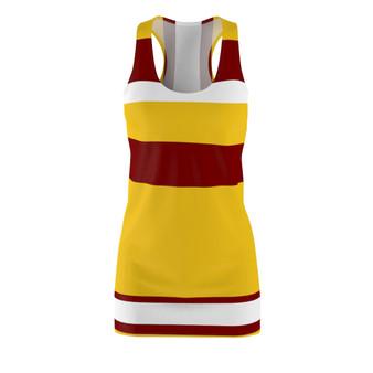 Yellow Burgundy Women Racerback Dress