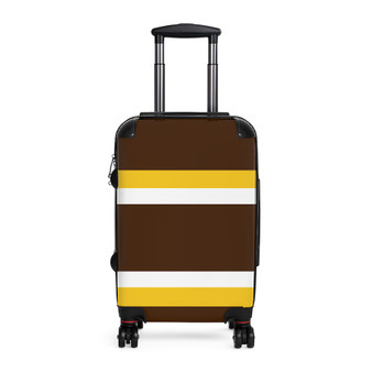 Brown Yellow White Adjustable Cabin Suitcase