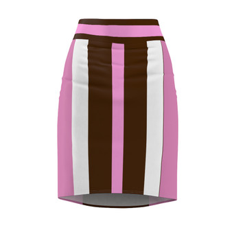 Mauve Pink and Brown Pencil Skirt