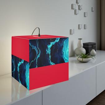Red Unique Cube Lamp