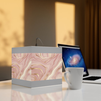 Grey and Marble Pink Unique Cubed Lamp