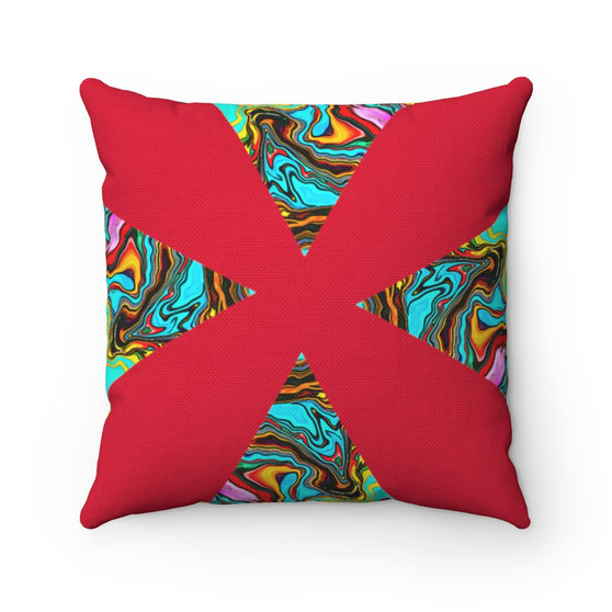 Red Triangle Abstract Pillow