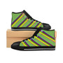 Green Color Striped Men High-top Sneakers