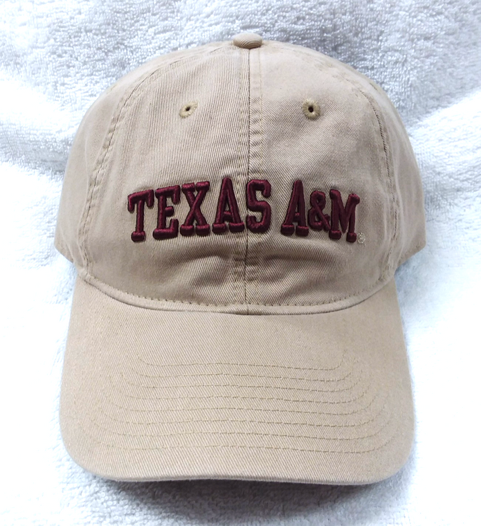 Texas A&M Maroon Lettering on Tan Adidas Hat Adjustable Back
