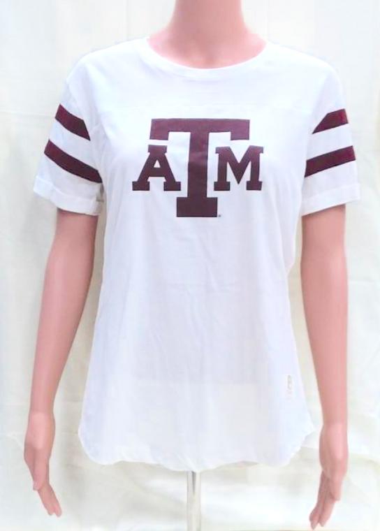 Texas A&M Cream Double Striped Short Sleeves Top-100% Cotton