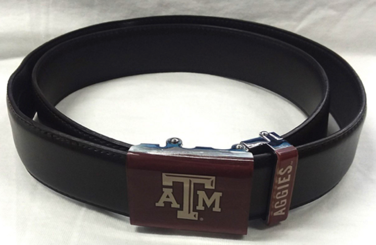 Imprinted logo and team name on buckle  No hole system for perfect fit  Buckle with acrylic finish detaches from belt   Genuine leather strap with protective coating  Allows for trimming down to size