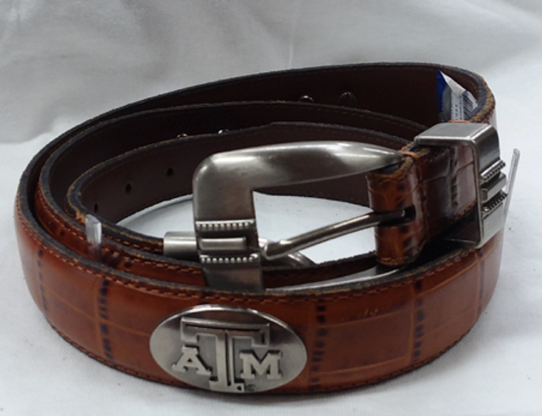 Tan belt with metal concho ATM   100% genuine leather