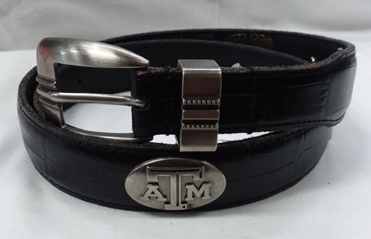 Black croc belt with metal concho ATM   100% genuine full grain leather