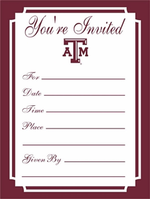 """These formal Texas A&M """"You're Invited"""" invitations are printed on linen finish paper and measure 4.25"""" x 5.5"""". There are 8invitations & 8 envelopes per package.  Made in the USA."""