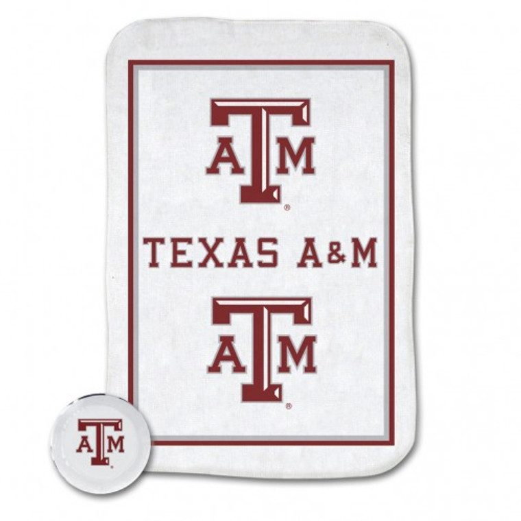Compressed Texas A&M towel puck expands to full size in water!