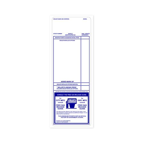 Blue Addendum Factory Sticker