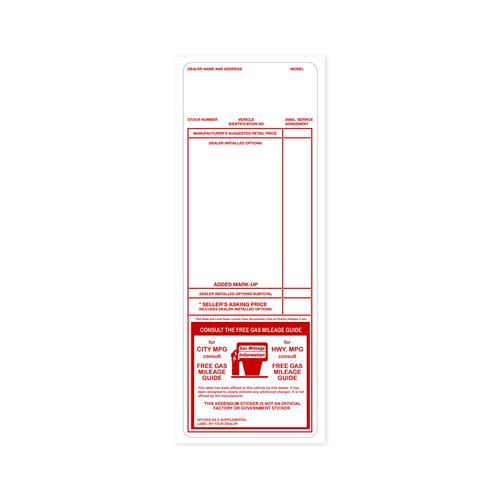 Red Addendum Factory Sticker