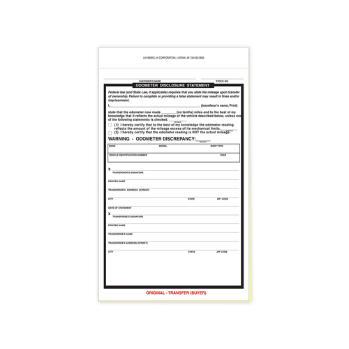 Duplicate NCR Odometer statement form