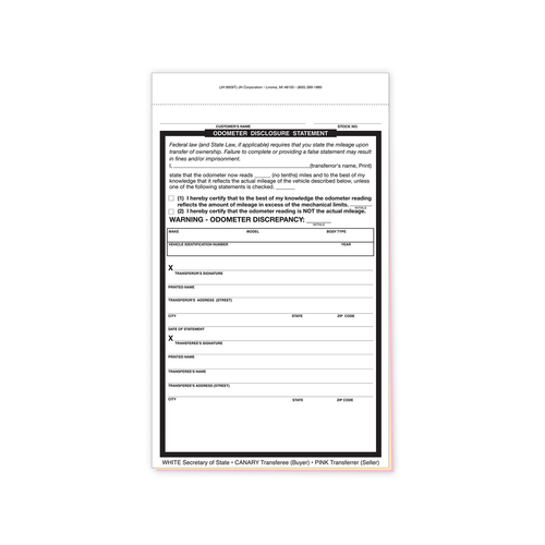 Triplicate NCR Odometer statement form