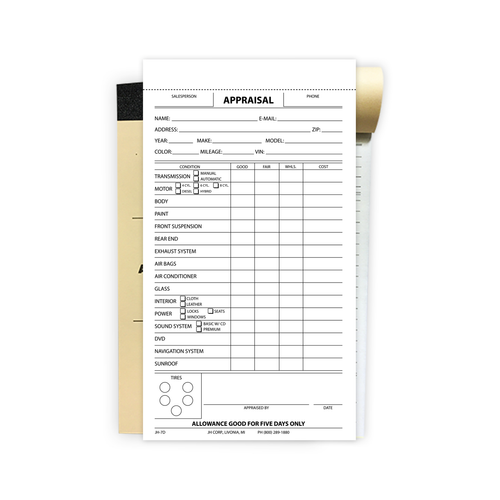2 Part Appraisal Book showing a blank appraisal slip