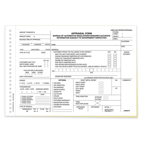 2 part dealership appraisal form front side