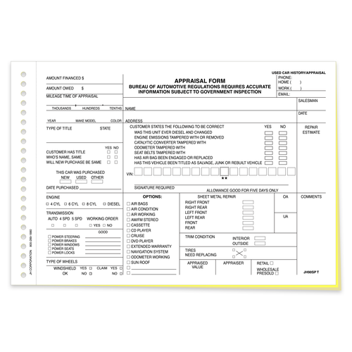 3 part dealership appraisal form front side