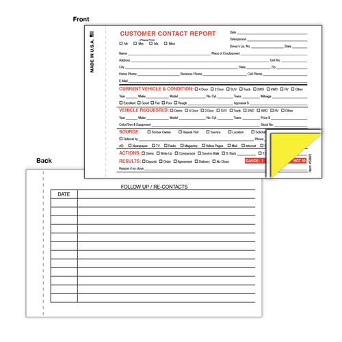 Sales Contact Report form