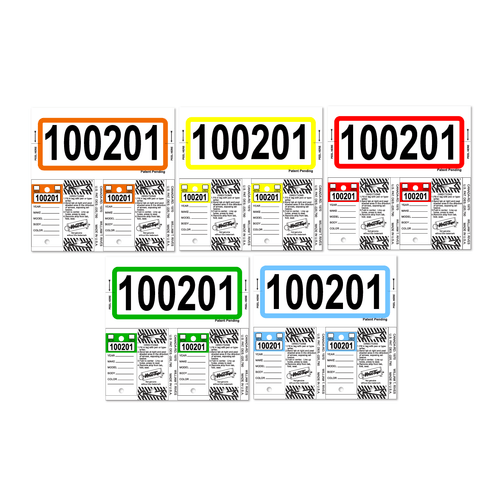 Color-Top Consecu Stock Key Tags with Black Numbers