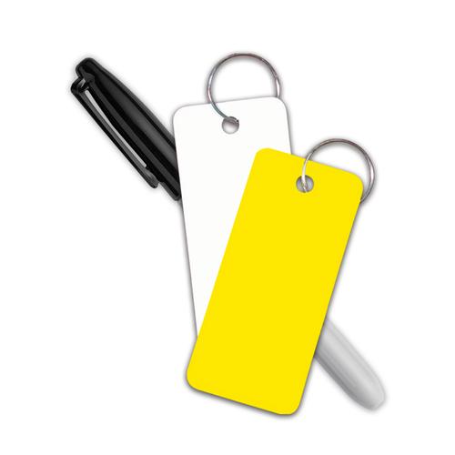 Blank Rigid Poly Stock Key Tags with sharpie fine point marker
