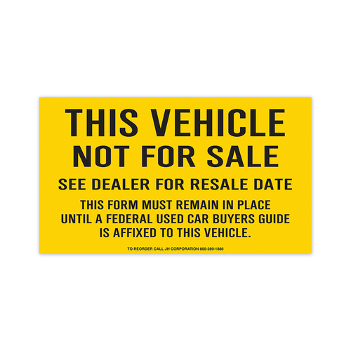 This Vehicle Not For Sale Decal