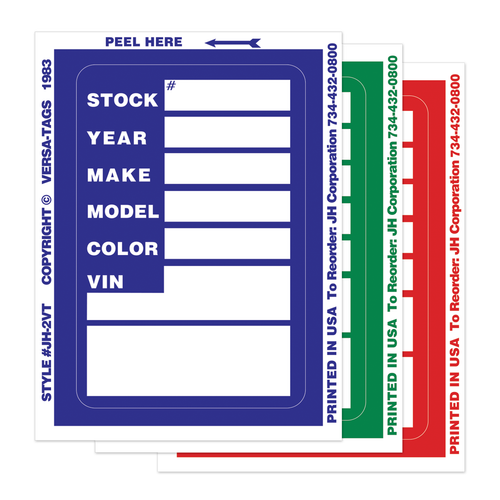 Clear Back Stock Inventory Stickers in Blue, Green and Red.