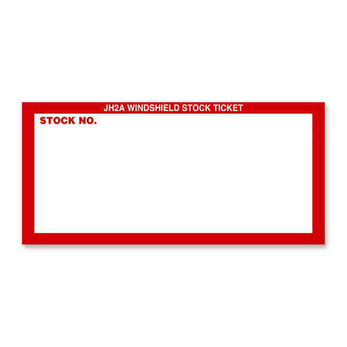 Red and white new car inventory sticker