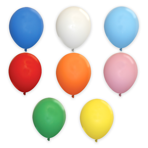 Blue, White, Light Blue, Red, Orange, Pink, Green and Yellow  17 inch solid Latex Balloons