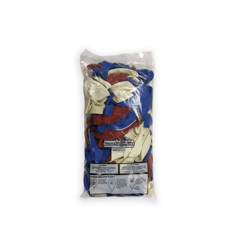 Red, White & Blue 17 inch solid Latex Balloon bags