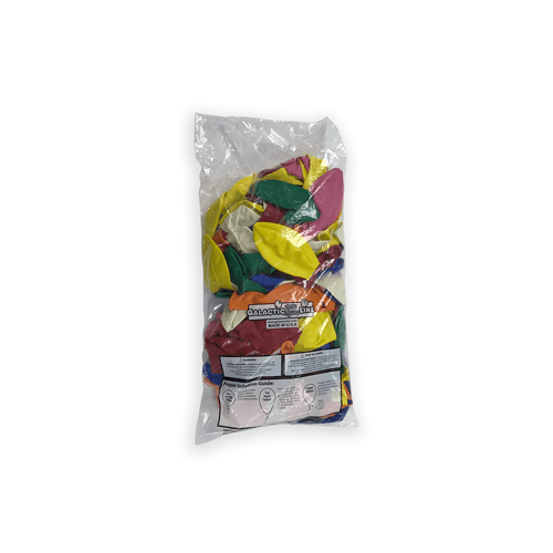 Bag of Blue, Green, Red, Orange, Yellow and Pink latex balloons.
