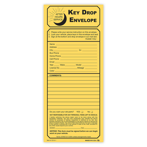 Key Drop Envelope for after hour service