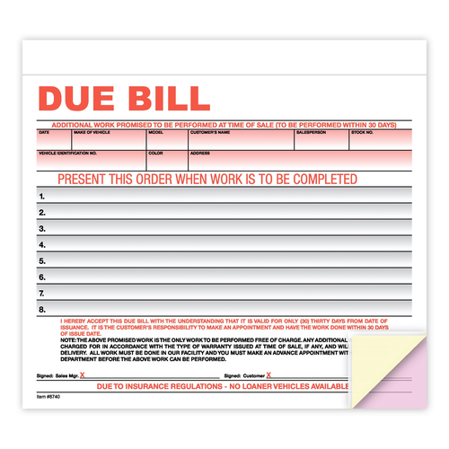 Due Bill Form