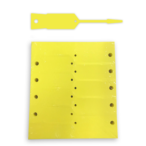 Yellow plastic service tag