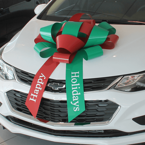 "30"" Green and Red Happy Holidays car bow"