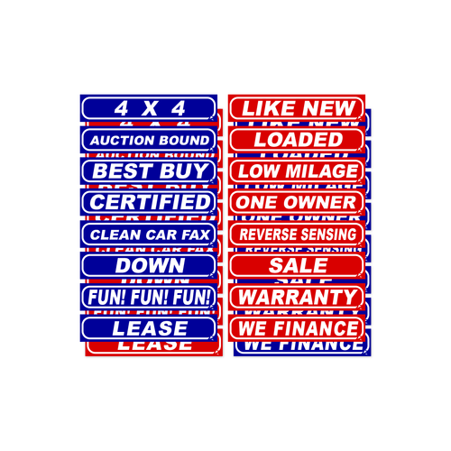 Large Patriotic Blue and Red Windshield Slogans