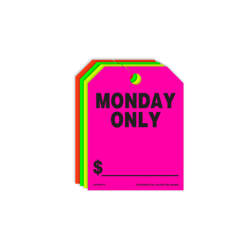 Monday Only Rear View Mirror Hang Tags