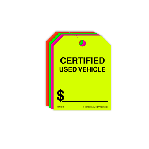 Certified Used Vehicle Rear View Mirror Hang Tags
