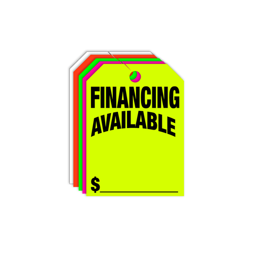 Financing Available Rear View Mirror Hang Tags