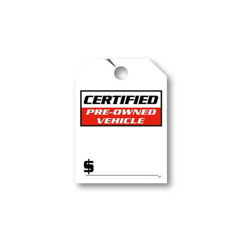 Certified Pre-Owned Vehicle hang tag