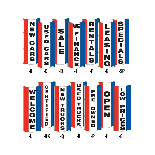 Single face vertical message tall flags