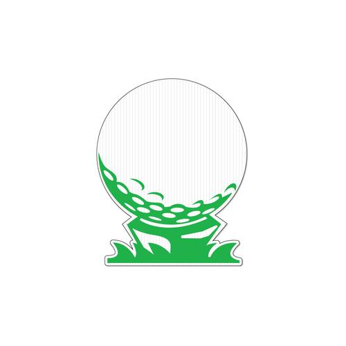Die cut shaped corrugated plastic golf ball on golf tee