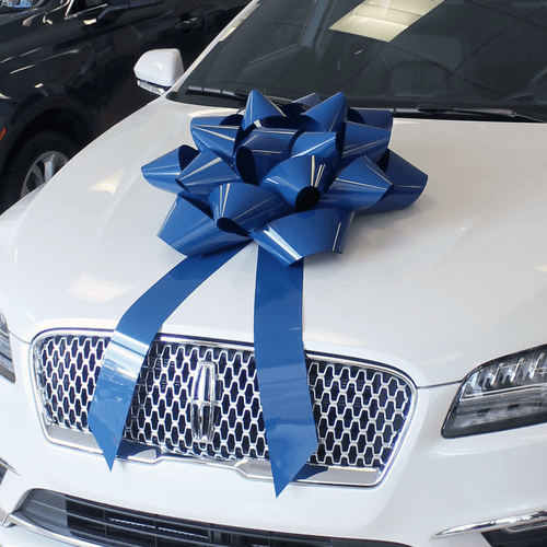 """28"""" Blue Big Gift Car Bow"""