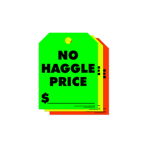 No Haggle Price Rear View Mirror Hang Tags