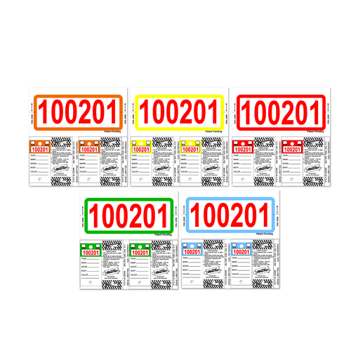 Color-Top Consecu Stock Key Tags-Red Numbers