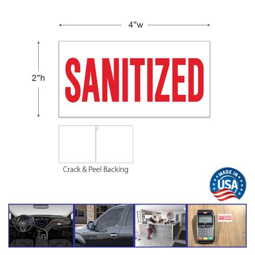 """""""SANITIZED"""" removable sticker"""