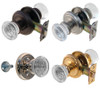 Round Art Deco Glass Door Knob Set w/Detailed Rosette in Brass. Nickel. Brushed Nickel or Oil Rubbed Bronze