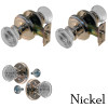 Nickel Round Art Deco Glass Door Knob Set w/Detailed Rosette